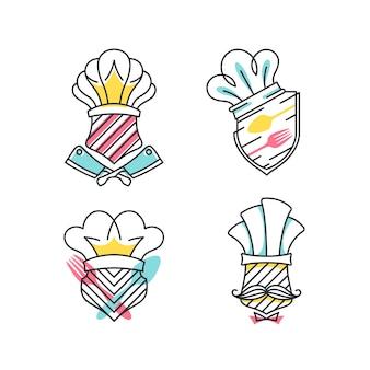 Graficzna linia i kolorowe tarcze z symbolami kawiarni, gotowania i szefa kuchni, logo