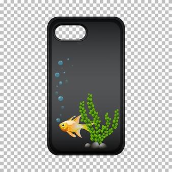 Graficzna obudowa telefonu komórkowego ze złotą rybką i wodorostami