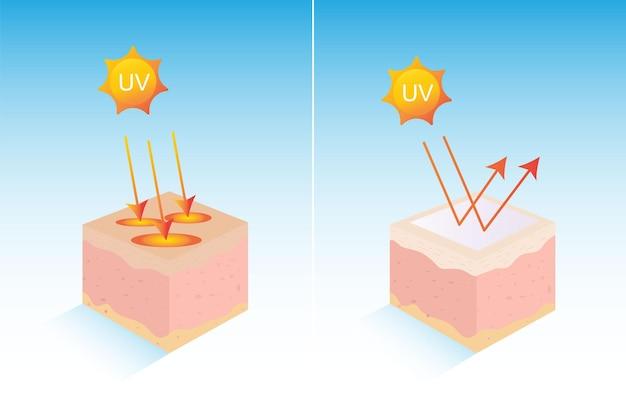 Graficzna ochrona przed promieniowaniem uv dla skóry ultraviolet shield reflect