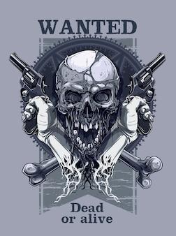 Graficzna realistyczna czaszka z rewolwerem trzymającym rękę