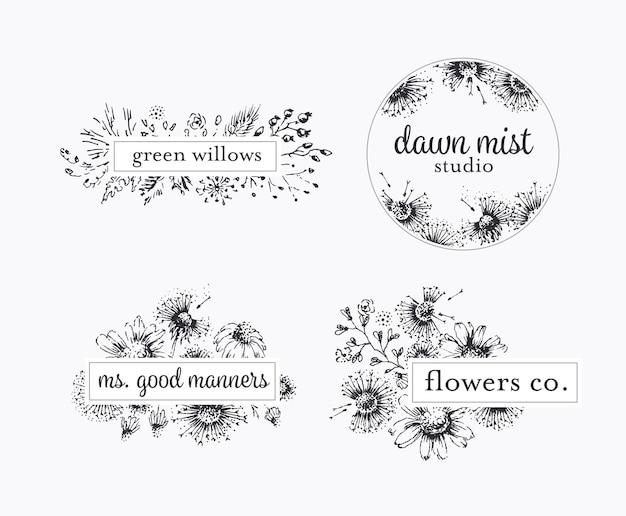 Graficzne etykiety kwiatowe z ręcznie rysowanymi kwiatami i liśćmi, pakiet logo botanicznego.