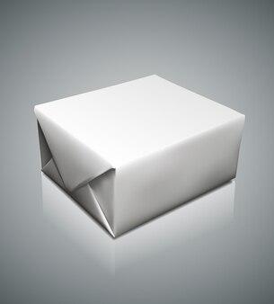 Graficzne fotorealistyczne puste pudełko z papieru