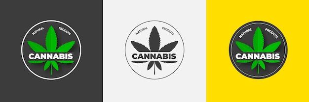 Graficzne logo z zielonym liściem konopi organicznej marihuany cbd emblemat z sativą i indicą