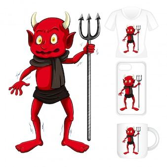 Graficzne różne produkty z czerwonym diabłem