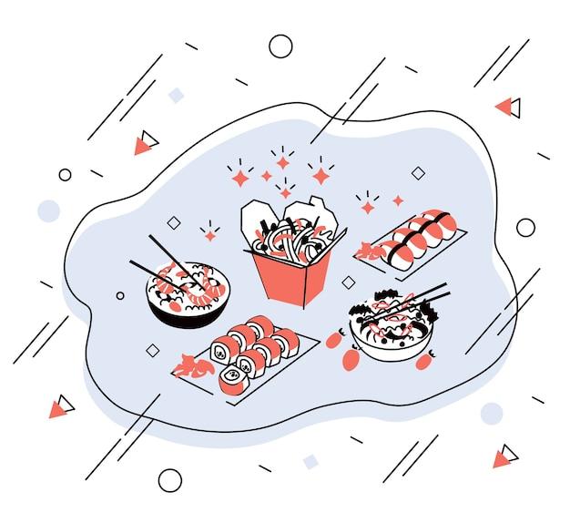 Graficzne rysunki azjatyckie