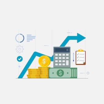 Graficzne statystyki finansowe dotyczące wyników biznesowych raportują