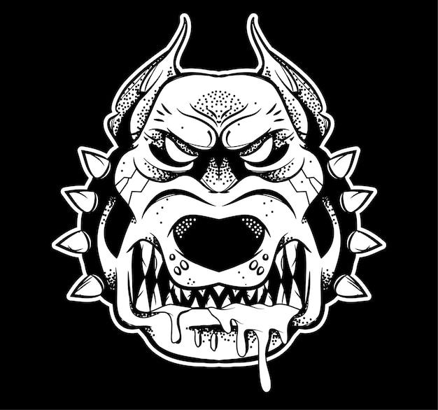Graficzny bardzo zły zły niebezpieczny pies myśliwski, który pokazuje swoje duże zęby i zirytowany warczeniem. czarnego białego projekta ilustracyjny nowożytny stylowy charakter dla druku odizolowywał białego tło.