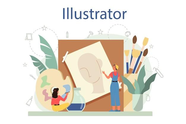 Graficzny er, koncepcja ilustratora. artysta rysuje obrazki do książek i czasopism, cyfrowe ilustracje do witryn internetowych i reklam. twórczy zawód.