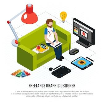 Graficzny freelancer jego komputerowa pastylka i inni narzędzia na białym isometric flowchart 3d