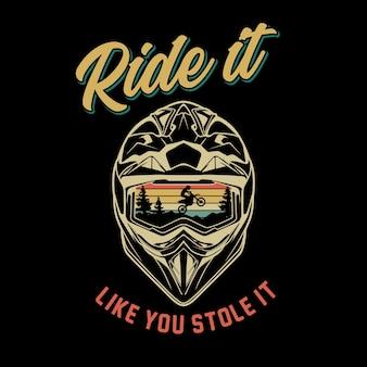 Graficzny ilustracja kask motorcross
