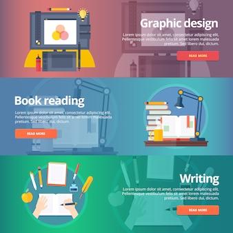 Graficzny . malowanie cyfrowe. czytanie książki. pismo odręczne. umiejętność kaligrafii. biblioteka. zestaw banerów edukacji. pojęcie.
