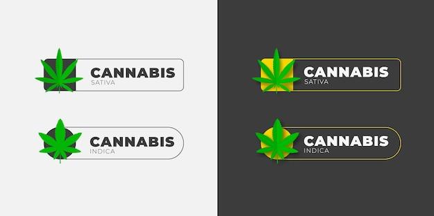 Graficzny projekt logo z organicznym liściem konopi na białym i czarnym tle