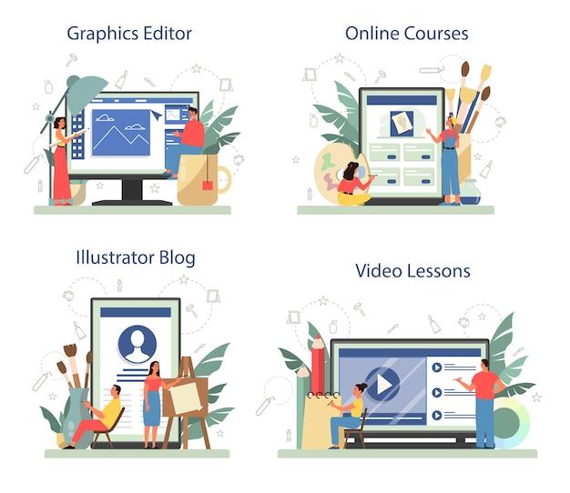 Graficzny projektant ilustracji, serwis internetowy dla ilustratorów lub zestaw platform. artysta rysuje książki, strony internetowe i reklamy. edytor grafiki online, kursy, blog, lekcja wideo. ilustracji wektorowych