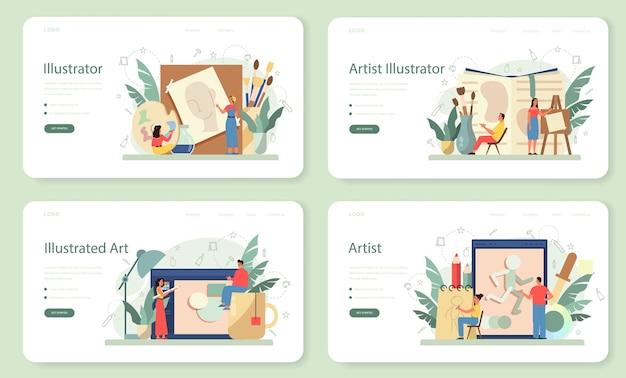 Graficzny projektant ilustracji, zestaw stron docelowych dla ilustratorów. artysta rysuje obrazki do książek i czasopism, cyfrowe ilustracje do witryn internetowych i reklam. ilustracji wektorowych