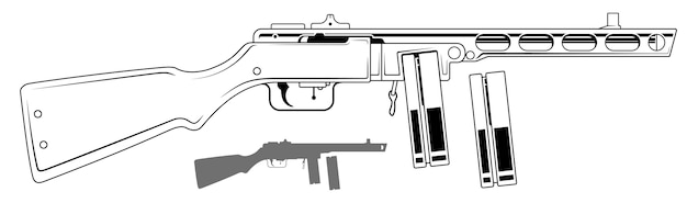 Graficzny retro pistolet maszynowy z magazynkiem na amunicję