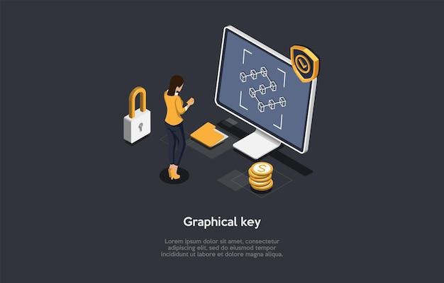 Graficzny system klucza odblokowania ilustracja koncepcja na ciemnym tle. kompozycja 3d w stylu kreskówki. izometryczny projekt wektor. metoda ochrony danych cyfrowych i informacji. nowoczesne pomysły technologiczne.
