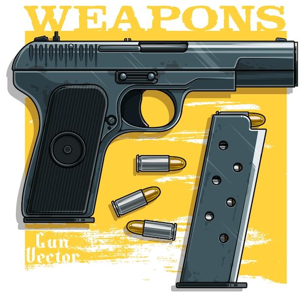 Graficzny szczegółowy pistolet pistoletowy z klipsem na amunicję