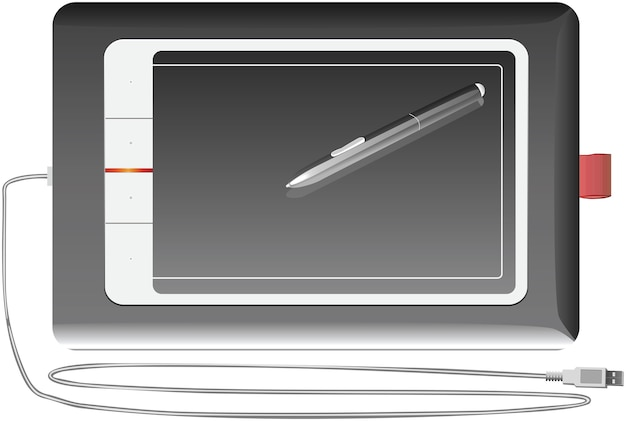 Graficzny tablet srebrny na białym tle