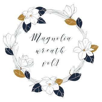 Graficzny wianek z magnolii w kolorach granatowym i brązowym.