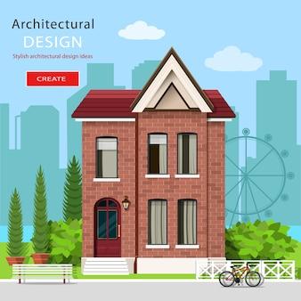 Graficzny współczesny luksusowy dom z zielonym podwórkiem i tłem miasta