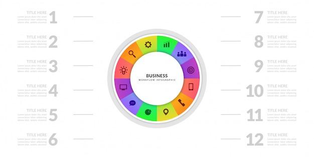 Graficzny wykres procesu biznesowego z wielostopniowym segmentem, kolorowe elementy infografiki cyklicznej