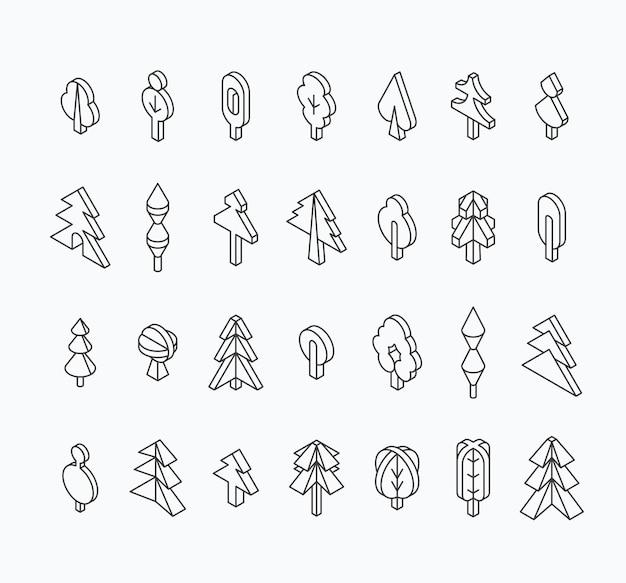 Graficzny zestaw drzew, izometryczny styl linii. zarys pustych obiektów na białym tle.