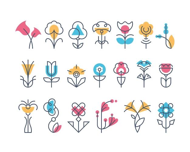 Graficzny zestaw kwiatów, linia i geometryczne ikony kwiatowe.