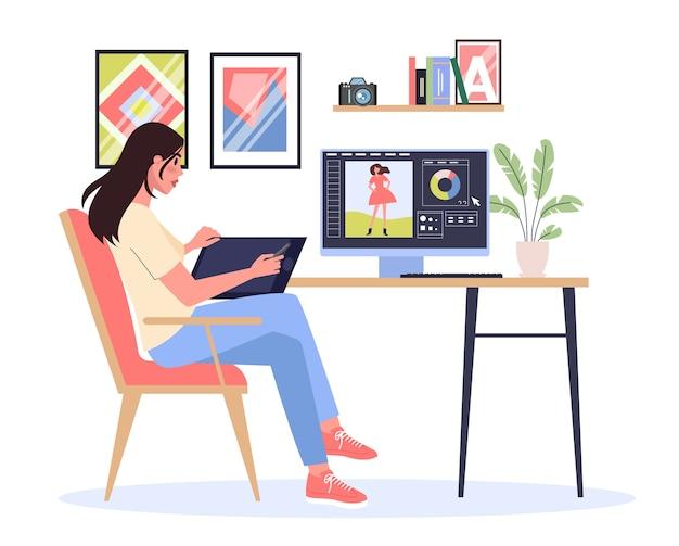 Grafik pracujący na komputerze. obraz na ekranie urządzenia. cyfrowe. koncepcja kreatywności.