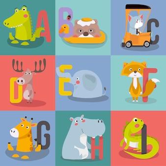Grafika alfabetu zwierząt od a do i.
