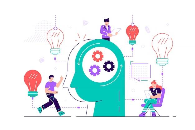 Grafika biznesowa, firma zajmuje się wspólnym poszukiwaniem pomysłów, głową abstrakcyjnej osoby, wypełnioną pomysłami i analizami, zastępując stare nowymi. ilustracja kreatywnych urządzony