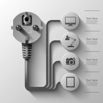 Grafika biznesowa, wtyczka elektryczna, kwadrat z sektorami informacyjnymi pod, ilustracja