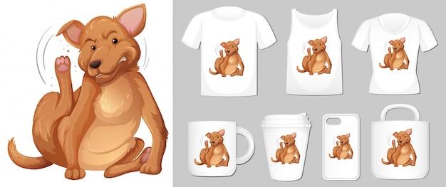 Grafika brązowego psa na różnych typach szablonu produktu
