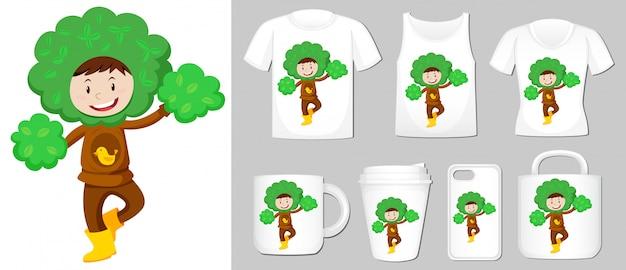 Grafika dziecka w stroju drzewa na różnych szablonach produktów