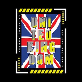Grafika flagi królestwa wielkiej brytanii dla drukowania t shirt