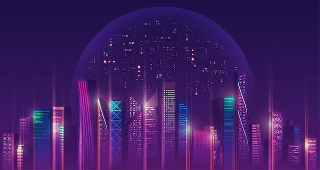 Grafika futurystycznego miasta z kosmosem i fioletową planetą w tle