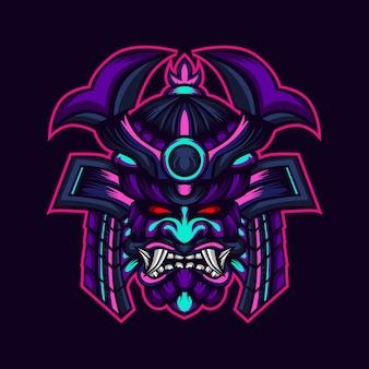 Grafika głowy samuraja wojownika potwora