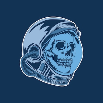 Grafika i projekt koszulki astronauta czaszka premium