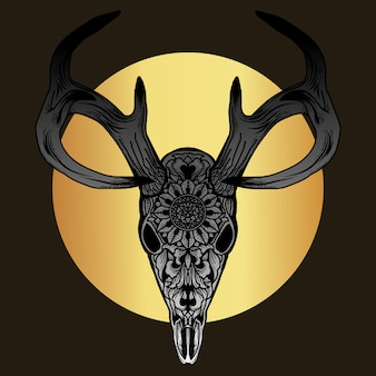 Grafika i projekt koszulki ornament jelenia czaszka premium