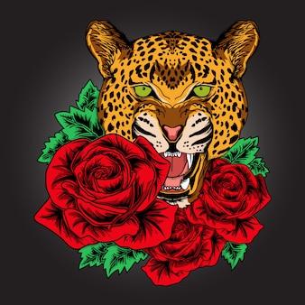 Grafika i t shirt design gepard lamparta i róża premium