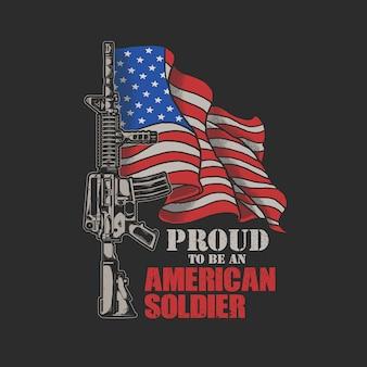 Grafika ilustracja amerykański żołnierz