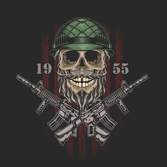 Grafika ilustracja armii amerykańskiej czaszki