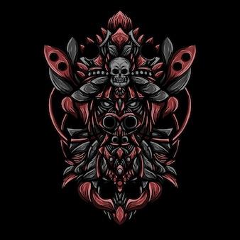 Grafika ilustracja ciemna czarownica wektor