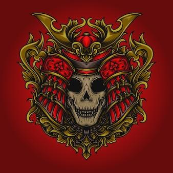 Grafika ilustracja czaszka samuraja grawerowania ornament