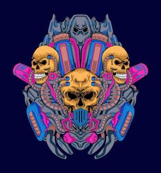 Grafika ilustracja maszyny czaszki