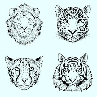 Grafika ilustracja projekt czarno-biały handdrawn duży dziki kot zestaw premium