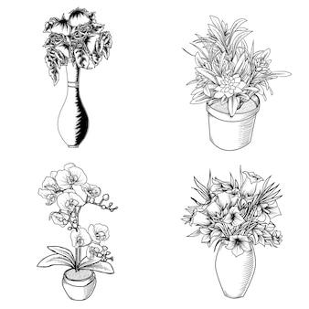 Grafika ilustracja projekt czarno-biały handdrawn kwiat w premii doniczkowej