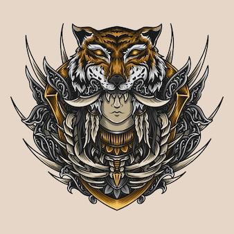 Grafika ilustracja prymitywna kobieta tygrys grawerowanie ornament