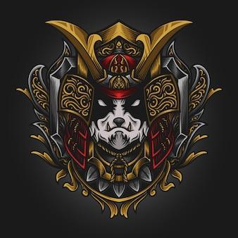 Grafika ilustracja samuraj panda grawerowanie ornament
