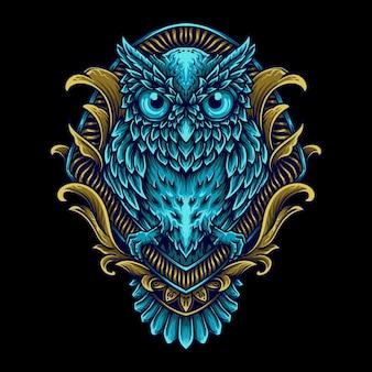 Grafika ilustracja sowa w grawerowaniu ornament