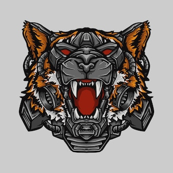 Grafika ilustracyjna głowa tygrysa robota